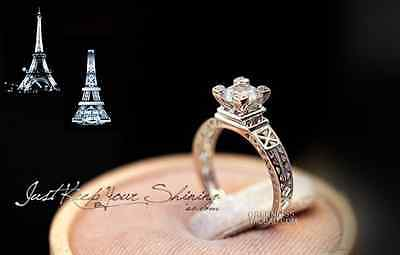 925 Sterling Silver Cubic Zirconia Paris The Eiffel Tower Engagement Ring RS28 - Eiffel Tower Ring
