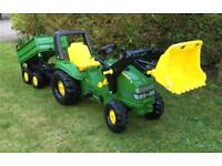 Rolly Toys John Deere ride on pedal tractor with front loader and tipping trailer