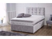 CRAZY PRICE // DOUBLE DIVAN CRUSHED VELVET BED + 10 INCH THICK ORTHOPEDIC MATTRESS & FREE DELIVERY