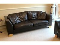 Very Good Condition Contemporary Chocolate Brown Leather 3-Seater & 2-Seater Sofa Set