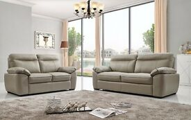 New High Grade 100% Leather 3+2 Static Sofa Settee Genuine Couch Set Brown, Grey or Cream