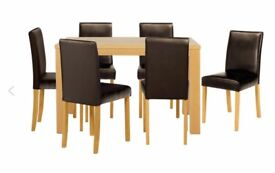 Brand new (flatpacked) Oak Veneer dining table and 6 chairs