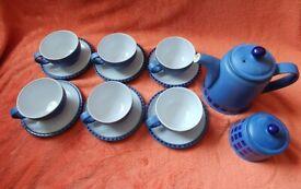Blue Denby reflex tea set