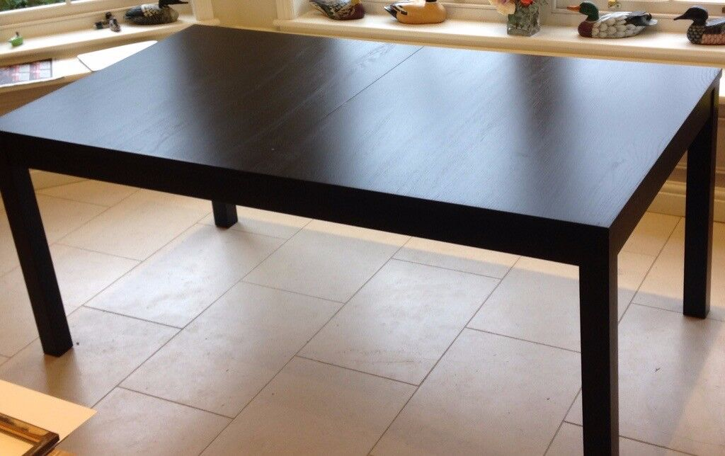 Ikea Bjursta Extendable Dining Table Black Lacquer Finish In Thatcham Berkshire Gumtree