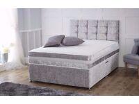 Modern Design Divan Bed *** Crushed Velvet Bed Frame With Memory foam Mattress Headboard