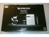 NESPRESSO Inissia White Coffee Machine & Aeroccino Milk Frother NEW & UNUSED