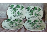 """4 Vintage Shelley China (Sloan and Smith Knightsbridge) """"Chippendale"""" Plates"""