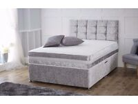 BRAND NEW ** CRUSHED VELVET DIVAN BED BASE STORAGE BED + HEADBOARD SINGLE DOUBLE KING