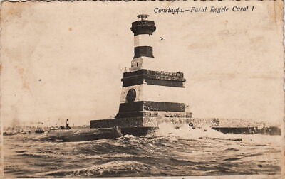 F-043 Constanta RomaniaFarul Regel Carol I Lighthouse Real Photo RPPC