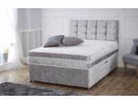 BRAND NEW DOUBLE 4FT6 OR 5FT KING CRUSH VELVET DIVAN BED IN BLACK OR SILVER WITH DEEP QUILT MATTRESS