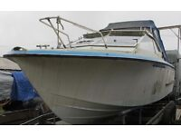 POWER BOAT PROJECT 24FT CORONET CABIN CRUISER BOAT ONLY