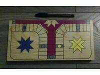 3 games - Travel (folding) wood Ludo Parchisi, mini 4 In A Row & Pick-Up Sticks