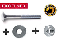 M6 M8 M10 SQUARE CARRIAGE BOLT COACH SCREW & HEXAGONAL FULL NUTS WASHER DIN 603
