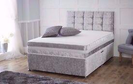 CRUSHED VELVET DIVAN BED + MEMORY MATTRESS + HEADBOARD 3FT 4FT 4FT6 Double 5FT