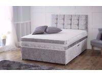 best price guaranteed CRUSHED VELVET DIVAN BED + MEMORY MATTRESS + HEADBOARD 3FT 4FT 4FT6 Double 5FT