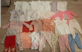 Girls Baby Bundle of clothes (3-6), bibs & comforters