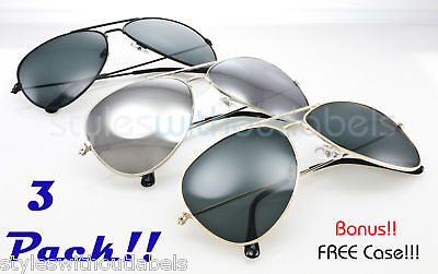 3 Pack   Classic Mirrored Lens Metal Aviator Sunglasses Silver Gold Black