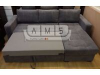BRAND NEW MINA GREY CHENILLE FABRIC CORNER SOFA BED SETTEE WITH OTTOMAN STORAGE SOFABED