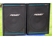 "PEAVEY EUROSYS 3 PAIR. Full Range with Eminence 15"" Bass Drivers Plus HF. VGC.."