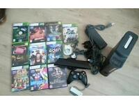 Xbox 360 complete console with 10 games and xbox 360 connect