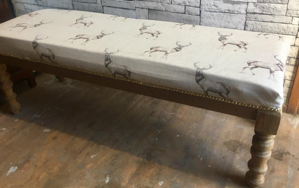 Wondrous Long Stool Kitchen Bench End Of Bed Bench Upcycled Reupholstered In Stag Fabric In Culverhouse Cross Cardiff Gumtree Uwap Interior Chair Design Uwaporg