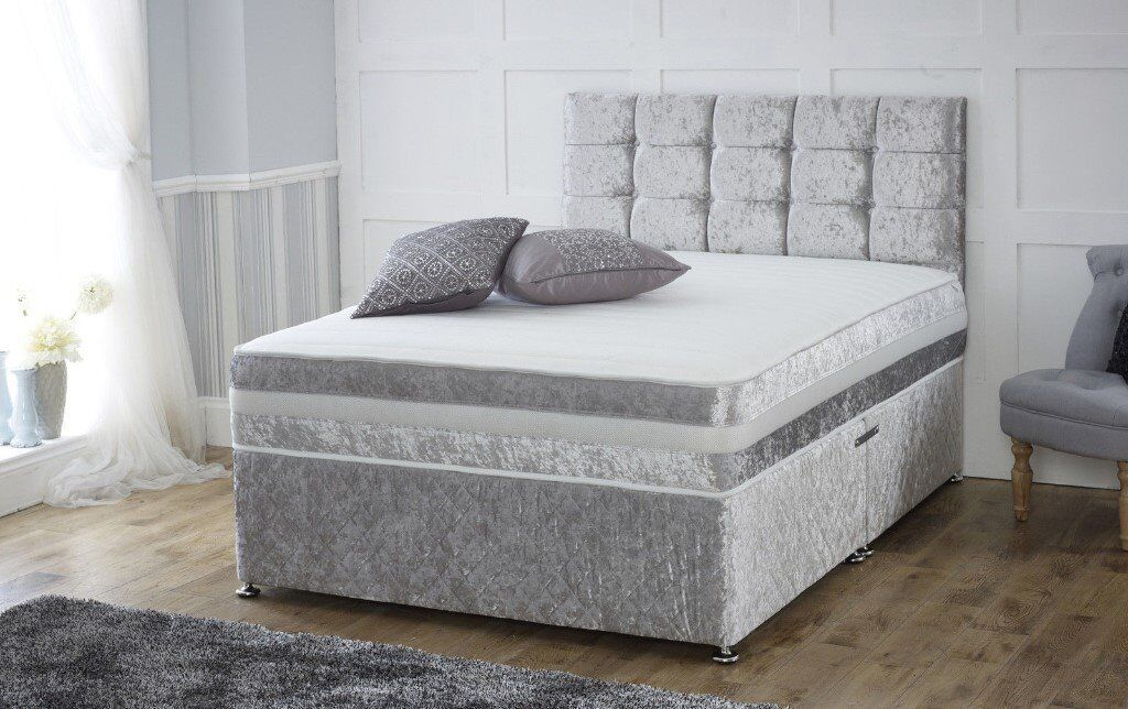 New crush velvet divan bed with velvet border complete for Velvet divan bed frame