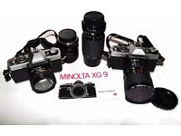 MINOLTA XG9 & XG2 BODY'S with 5 Lenses outfit
