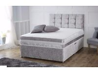 Crushed Velvet Bed with 3D Open Sprung Memory Foam Mattress and Headboard