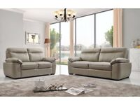 Cindy 3 Seater Grey and Cream Real Leather Static Sofas New in Box