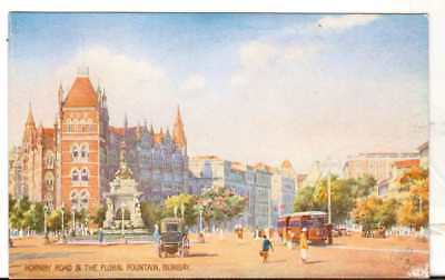 Undated Unused Postcard Tucks Hornby Road and The Floral Fountain Bombay Mumbai