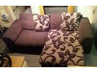 BROWN UPHOLSTERED FLORAL PATTERNED L-SHAPED CORNER SOFA SYSTEM