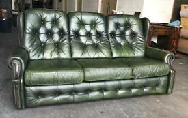 Green leather Chesterfield highback sofa Can deliver