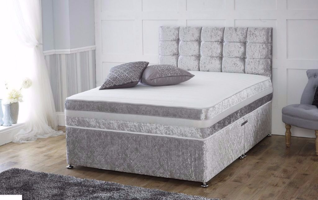 New Crushed Velvet Bed Open Sprung Mattress Foam