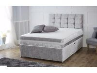 New Crushed Velvet Bed + Open Sprung Mattress + Foam padded button/diamante Headboard