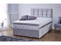 CRUSHED VELVET DIVAN BED & SPRUNG MEMORY FOAM MATTRESS & BUTTON HEADBOARD
