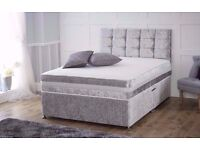 Brand New Crushed Velvet Fabric Double Divan Bed Base With Semi Orthopedic Mattress