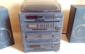 Sanyo stereo system - Great sounding turntable, tape decks and multi CD