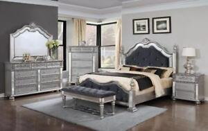FABRIC BED WITH SILVER AND GOLDEN FINISH ON SALE IN HAMILTON,HTTPS://WWW.KITCHENANDCOUCH.COM/(ME20)