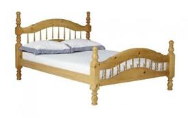 Solid Pine Single Bed with Blue foam mattress like new