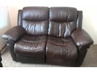 Dark Brown Leather Manual Recliner Sofa & Armchairs