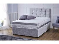 CRUSHED VELVET DIVAN BASE WITH UNDER BED STORAGE | COLOUR OPTION | ALL SIZES