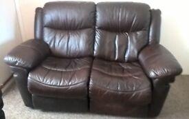 Dark Brown Leather Manual Recliner Sofa & Armchairs