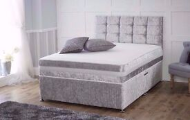 CHEAP BEDS IN TOWN=CRUSHED VELVET DIVAN BED BASE-DOUBLE,SINGLE & KING SIZE IN CREAM/BLACK/SILVER