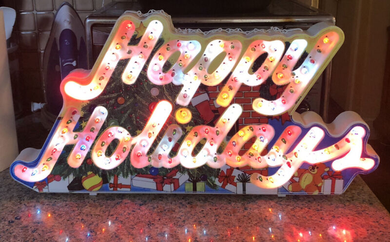 """Christmas """"Happy Holidays"""" Life Lights Sign Indoor 8 Functions Vtg. 1992 11x23"""""""