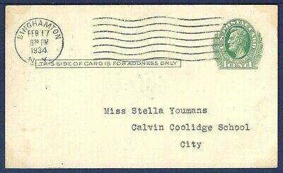 US Postal Card UX26 Lincoln 1 Green From Binghamton, New York 1934 - $4.00