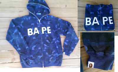A BATHING APE BAPE Blue Camo ORIGINAL Full Zip Up Hoodie Mens Large - With Tags