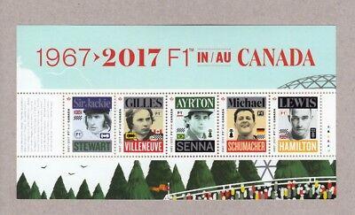 FORMULA-1 = 5 BEST RACING CAR PILOTS = cut from Miniature sheet MNH Canada