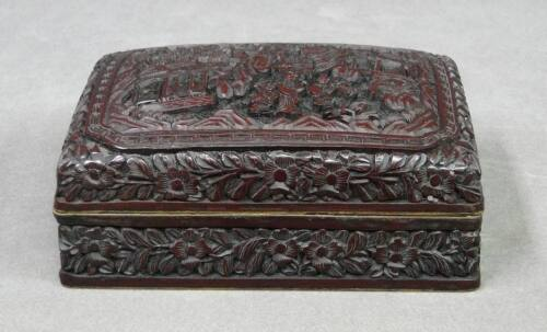 Chinese Qing Dynasty Red Carved Cinnabar Lacquer Box Qianlong Mark