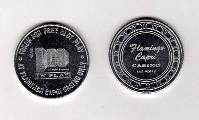 FLAMINGO CAPRI CASINO c1973 ONE DOLLAR $1 IN PLAY TOKEN LAS VEGAS NEV BU Semi PL