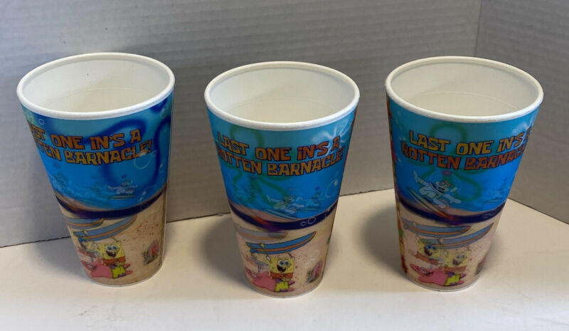 RARE CAPITOL CUPS SPONGEBOB HOLOGRAPHIC CUPS LOT OF 3